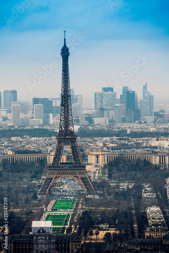 Fototapeta Aerial cityscape of Paris, France, with the Eiffel tower seen from the Tour Montparnasse