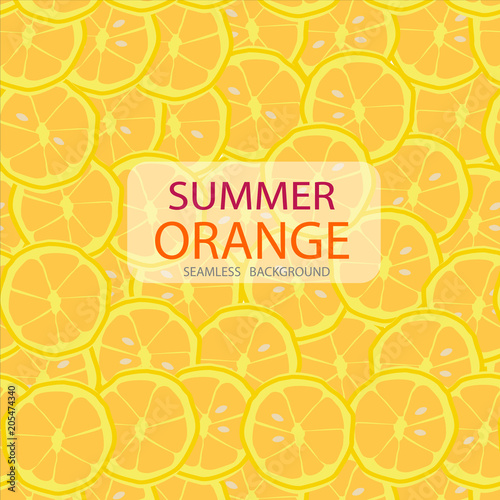 vector circle slices of orange pattern, seamless background, summer concept