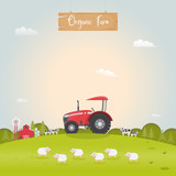 Farming with barn house and dairy farm animals. Vector illustration.