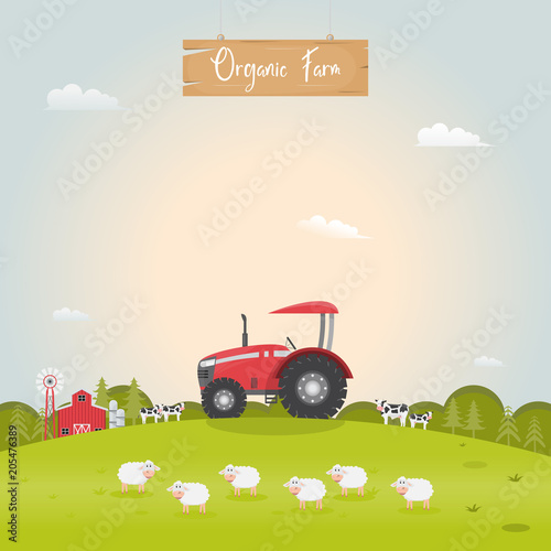 Aluminium Boerderij Farming with barn house and dairy farm animals. Vector illustration.