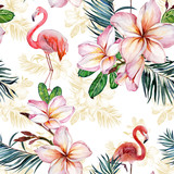 Beautiful flamingo and plumeria flowers on white background. Exotic tropical seamless pattern. Watecolor painting. Hand painted illustration.