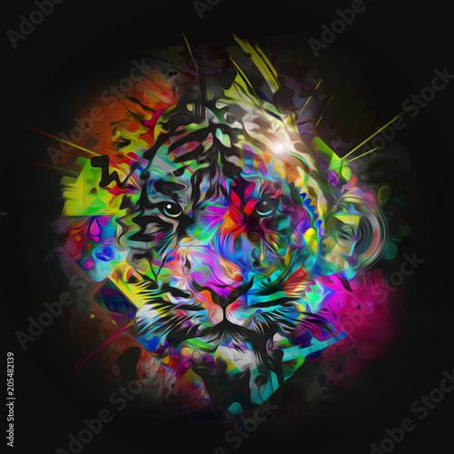 Aluminium Reznik Красочный рисованной мордой льва, абстрактный красочный фон