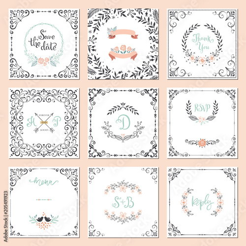 Ornate frames design and rustic wedding elements set. Flourish card templates.