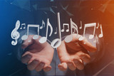 3d render music notes on a futuristic interface - 205494330