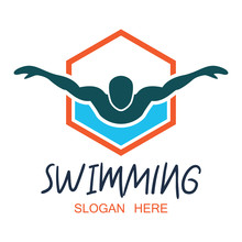 Swimming Logo  Text Space For Your Slogan  Tag Line  Illustration Sticker