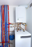 Pipes and boiler of gas heating system in the house - 205497186