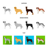 Dog breeds cartoon,flat,monochrome icons in set collection for design.Dog pet vector symbol stock web illustration.