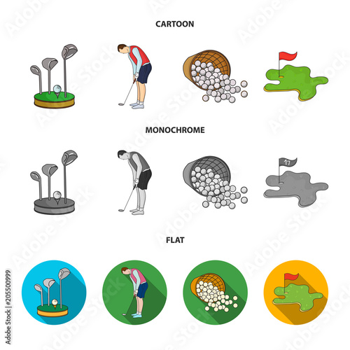 Stand for a golf club, muzhchin playing with a club, basket with balls, label with a flag on the golf course. Golf Club set collection icons in cartoon,flat,monochrome style vector symbol stock
