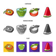 Sweet Bulgarian pepper, vitamin drink, jam with raspberry and mint leaves, a piece of watermelon. Vegetarian dishes set collection icons in cartoon,flat,monochrome style vector symbol stock