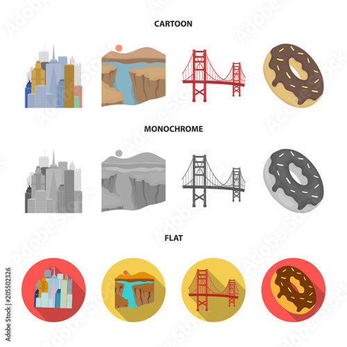 Fridge magnet A megacity, a grand canyon, a golden gate bridge,donut with chocolate. The US country set collection icons in cartoon,flat,monochrome style vector symbol stock illustration web.