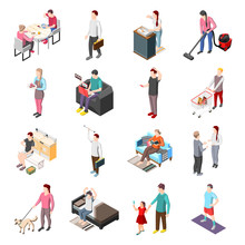 Life Of Ordinary People Isometric Icons  Sticker
