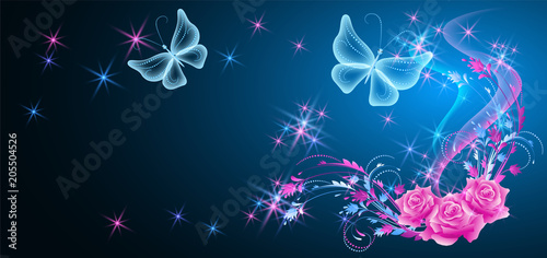 Fototapeta Neon butterflies and roses with shiny stars