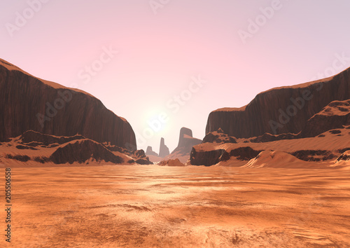 Fotobehang Lichtroze 3D Rendering Canyon Valley