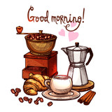 Sketch Coffee Color Illustration. Hand Drawn Still Life With Coffee Mill, Cup, Croissant, Cinnamon And Kettle - 205506931