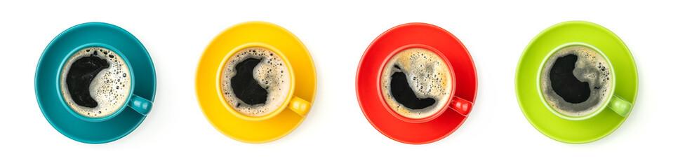 Vier bunte Kaffeetassen mit frischem Kaffee © Zerbor