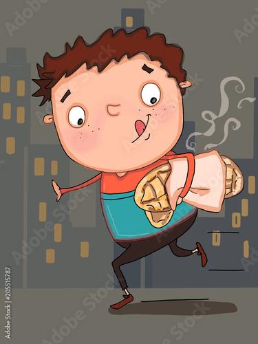 cute child bread on his head illustration