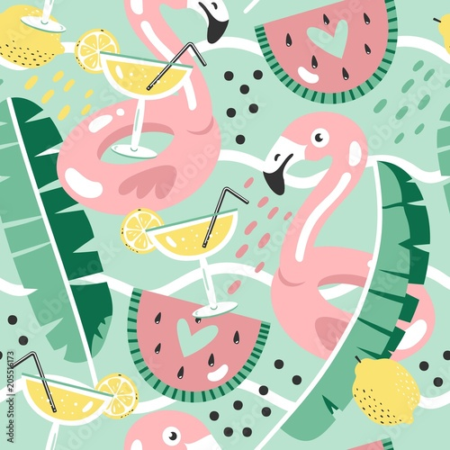 Materiał do szycia Colorful seamless summer pattern with hand drawn beach elements.