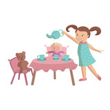 Little girl play tea party with toys