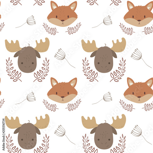 Cotton fabric Cute forest animals seamless pattern