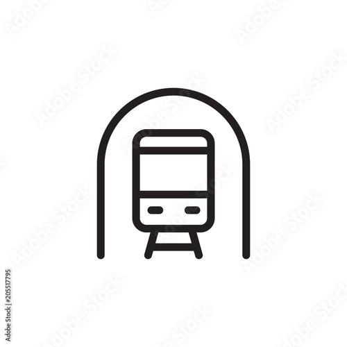 ikona wektor zarys tunelu kolejowego. Nowoczesny prosty znak na białym tle. Doskonała ilustracja wektorowa pikseli do logo, strony internetowej, aplikacji mobilnej i innych wzorów