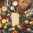 products for cooking, vegetables, ingredients, spices. place for text. wooden background