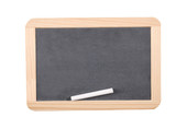 school concept: close up on a slate blackboard with chalks and copy space. - 205522513