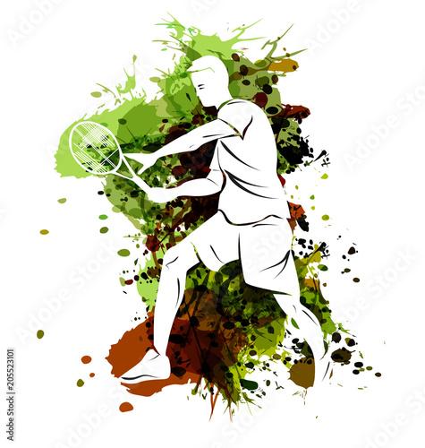 Fototapeta Vector illustration of tennis player on watercolor background