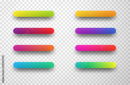 Colorful icon templates isolated on transparent background.