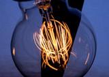 Light bulb incandescent hanging decorated interior room. - 205526359