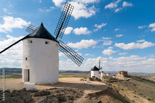 Madrid travel destination. Landscape of windmills of Don Quixote. Historical building in Cosuegra area near Madrid, Spain.