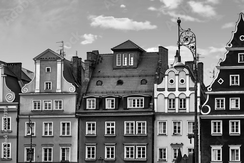 Central market square in Wroclaw Poland with old houses and street lantern lamp. Travel vacation concept. Black and white - 205527398