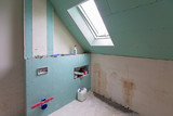 Empty bathroom interior at renovation in the house - 205529340