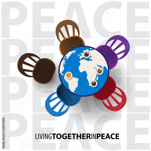 Fototapeta Peace Day with world table and coffee, Living together ini peace