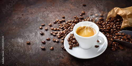 Espresso and coffee beans on plaster background - 205535534