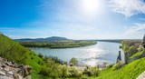 The Danube and Morava river together near the Devin castle, Slovakia. Summer weather, blue sky