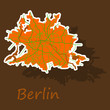 Sticker Berlin city map with boroughs illustration silhouette shape