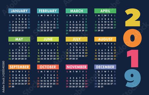 calendar 2019 vector basic grid simple design template buy photos