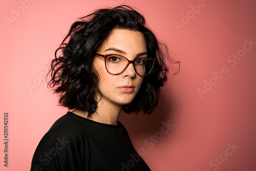 Young women with eyeglasses