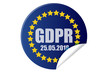 Reglamento protección de datos de Europa en forma de pegatina.