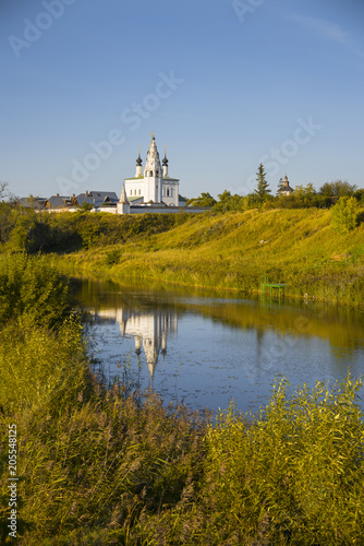 View of the Church of the Ascension with a bell tower. Golden Ring of Russia