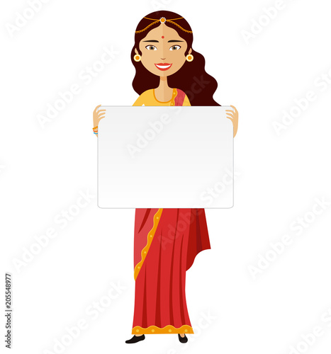 Indian woman standing holding blank sign isolated on white vector illustration