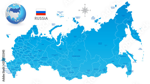 Blue Russia Vector Administrative Map