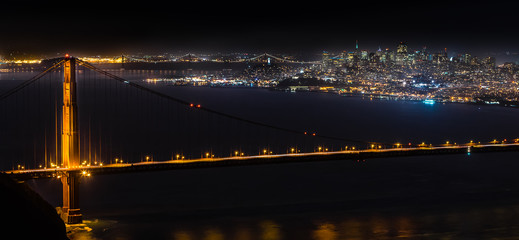 Golden Gate Bridge with San Francisco Night Skyline