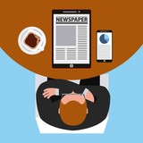 top view businessman reading on the table vector illustration