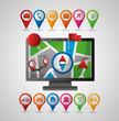 computador pin map compass directions gps navigation application vector illustration