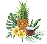 Watercolor tropical bouquet with flowers, leaves and fruit. Hand painted monstera, palm branch, frangipani, pineapple and coconut isolated on white background for design, fabric, or background. - 205571307