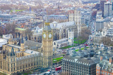 London city with Big Ben landmark. aerial view