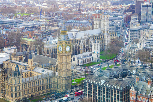 Fotobehang London London city with Big Ben landmark. aerial view