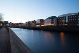Liffey river promenade in the early morning. Dublin, Ireland.