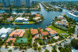 Miami mansions on water aerial